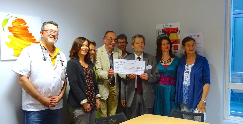 Le Gefluc remet un chèque de 15.150 € au Centre Hospitalier de Valence pour le projet DOZDAR du Docteur Bruno Anglaret.