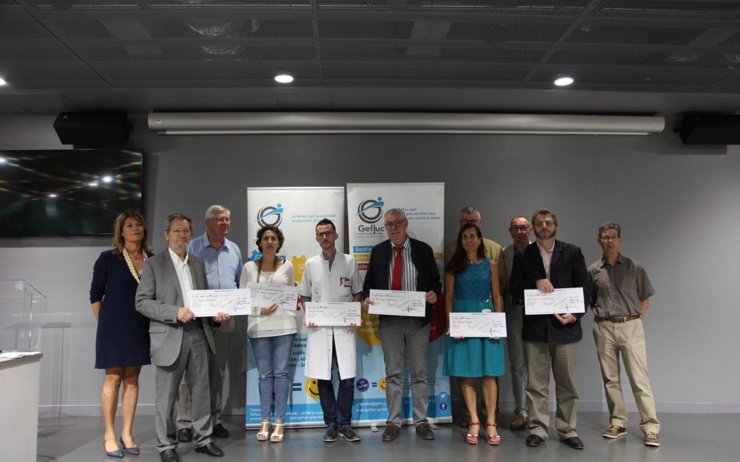Remise de 6 chèques pour 121 599 euros au CHU Grenoble Alpes le 18 juin 2018